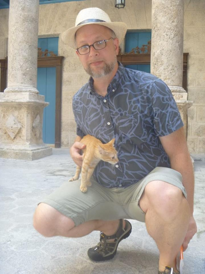 John Harriman with new cuban furry friend.