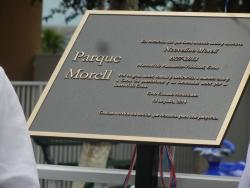 El parque lleva el Nombre de Morell en homenaje a Novelino Morell, el cual fue uno de los fundadordes del Cuban American Club